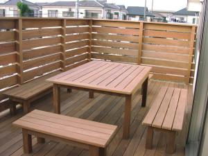 背なしベンチ&テーブル