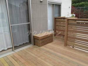 ベンチ兼用室外機カバー(庭ウッドデッキ用)